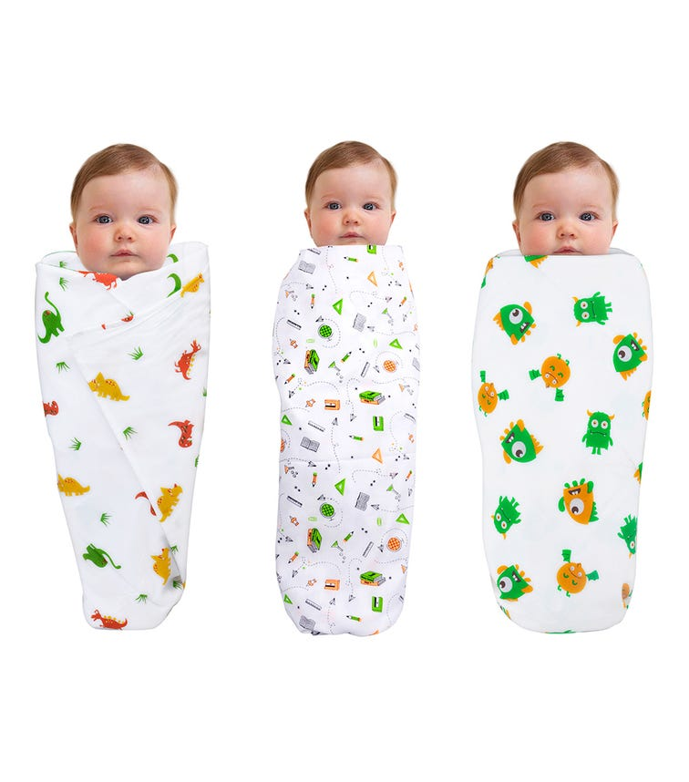 WONDER WEE Swaddles (Pack Of 3) - Red Dino-Stationary-Monster