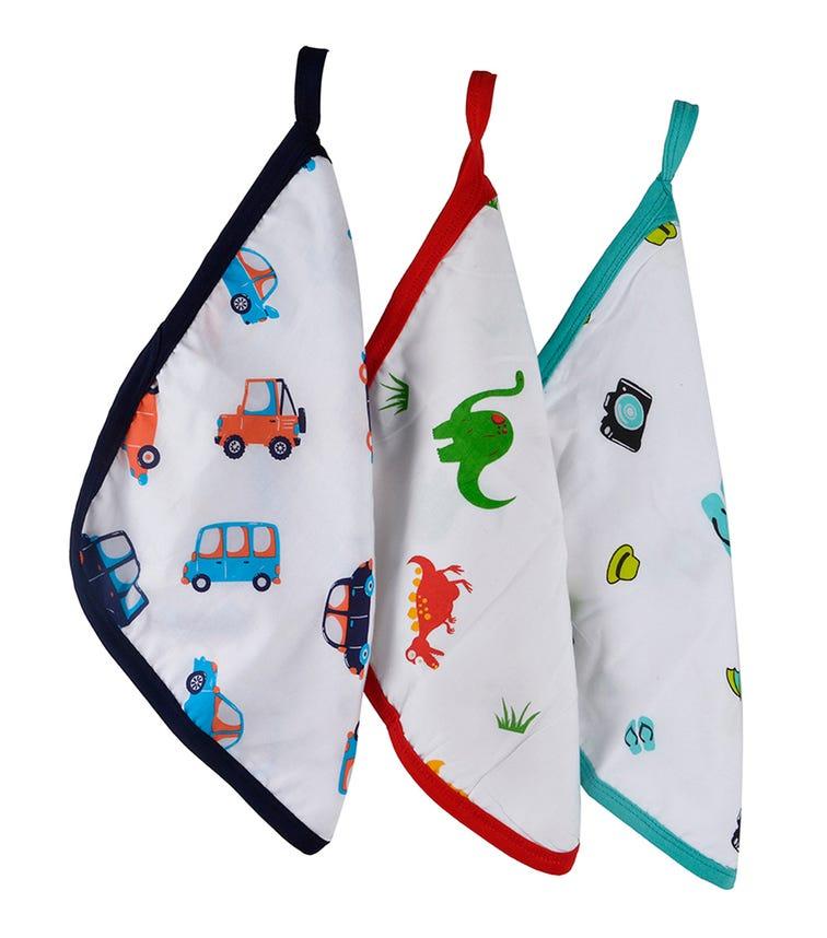 WONDER WEE Washcloth/Napkin Set (Pack Of 3) - Car-Red Dino-Travel