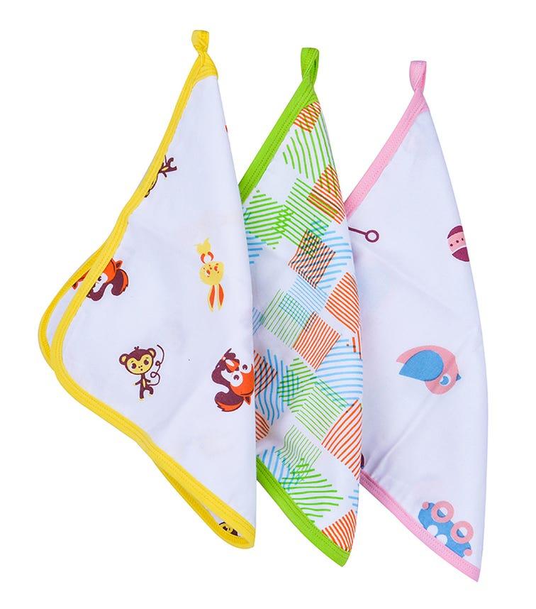 WONDER WEE Washcloth/Napkin Set (Pack Of 3) - Animals-Green-Pink Toys