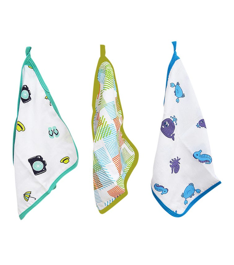 WONDER WEE Washcloth/Napkin Set (Pack Of 3) - Turquoie -Multicoloured-Blue