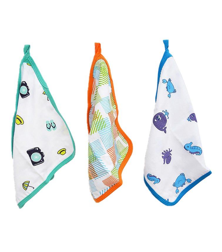 WONDER WEE Washcloth/Napkin Set (Pack Of 3) - Green-Multicoloured-Turquoise