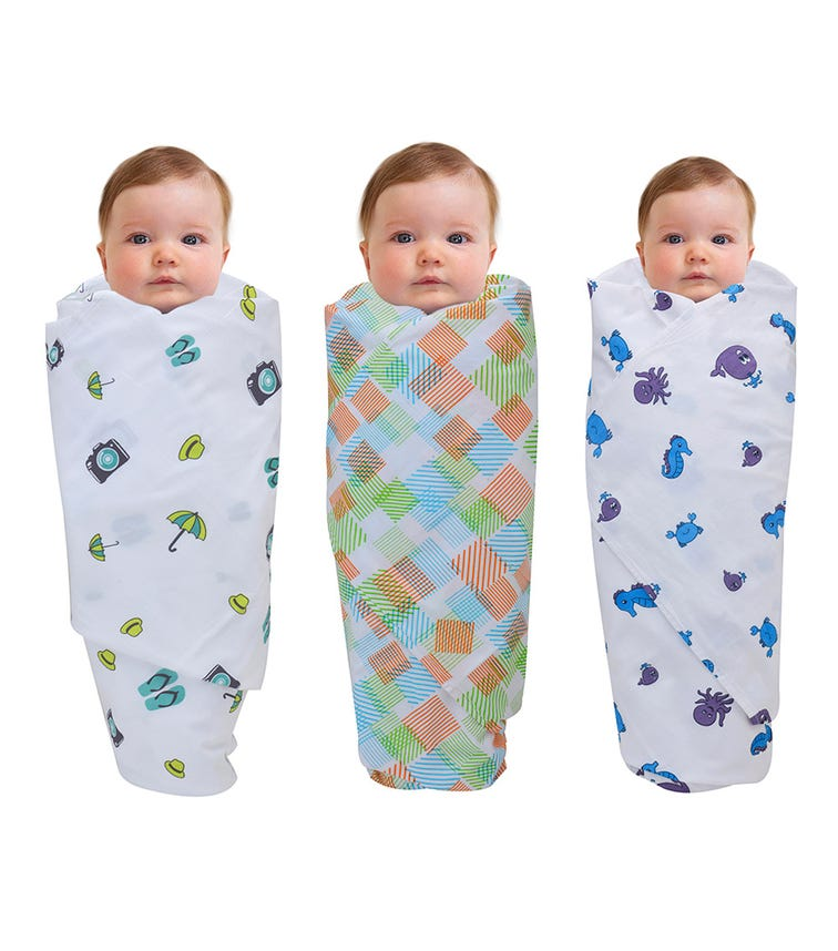 WONDER WEE Swaddles (Pack Of 3) - Travel-Multicoloured-Blue Sea Animals