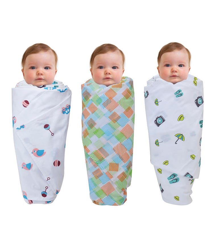 WONDER WEE Swaddles (Pack Of 3) - Travel-Multicoloured-Pink Toys