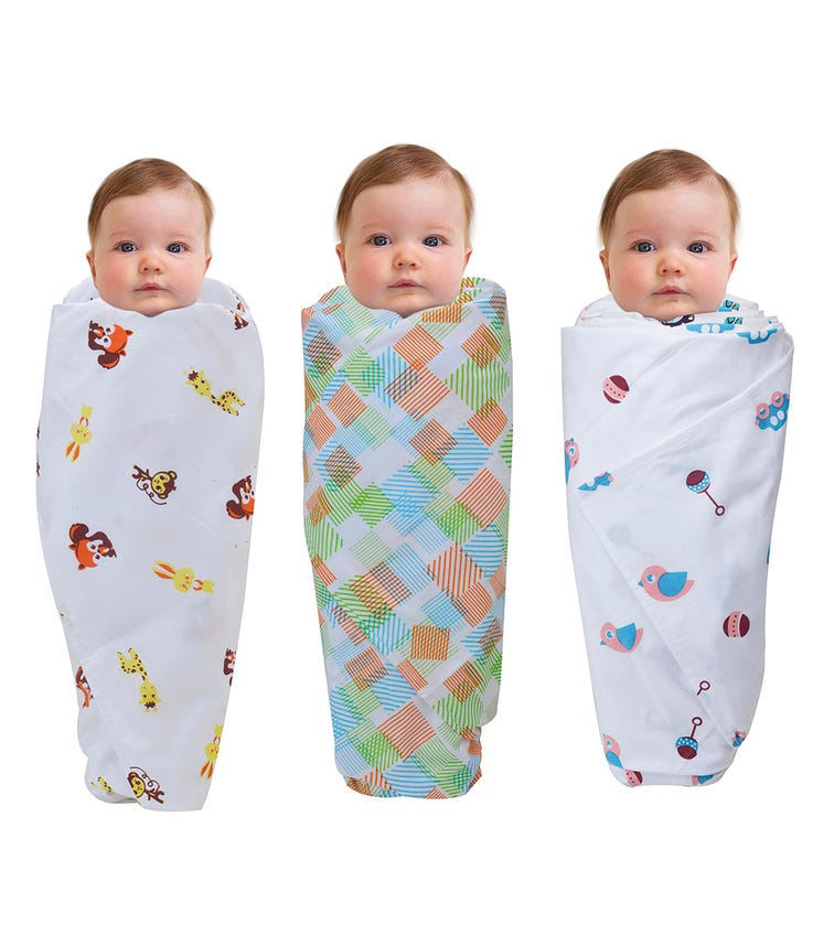 WONDER WEE Swaddles (Pack Of 3) - Yellow Animals-Multicoloured-Pink Toys