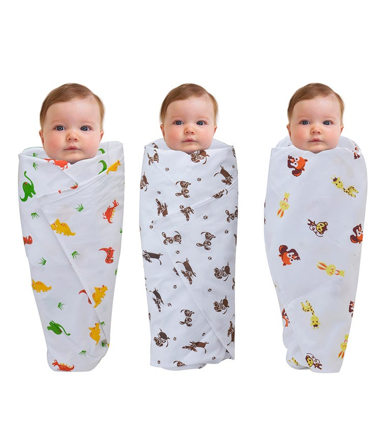 WONDER WEE Swaddles (Pack Of 3) - Yellow Animals-Red Dino-Brown Dog