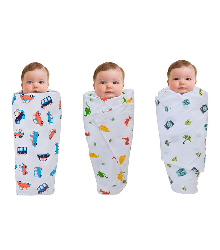 WONDER WEE Swaddles (Pack Of 3) - Cars-Red Dino-Travel