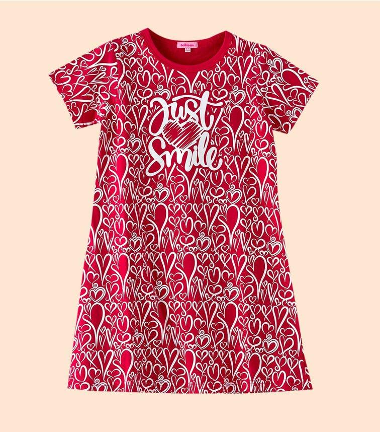 JELLIENE Heart Print Knit Sleepwear