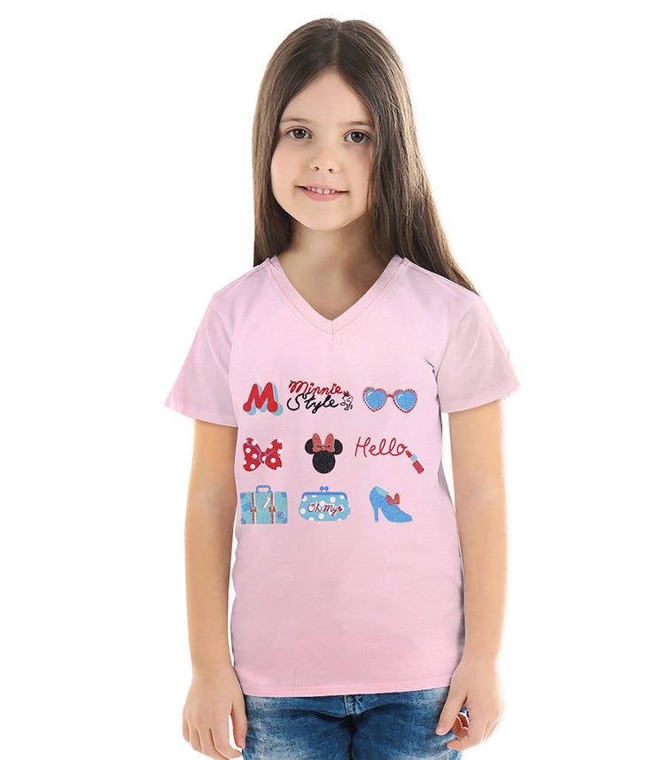 DISNEY Minnie Girls T-shirt Pink