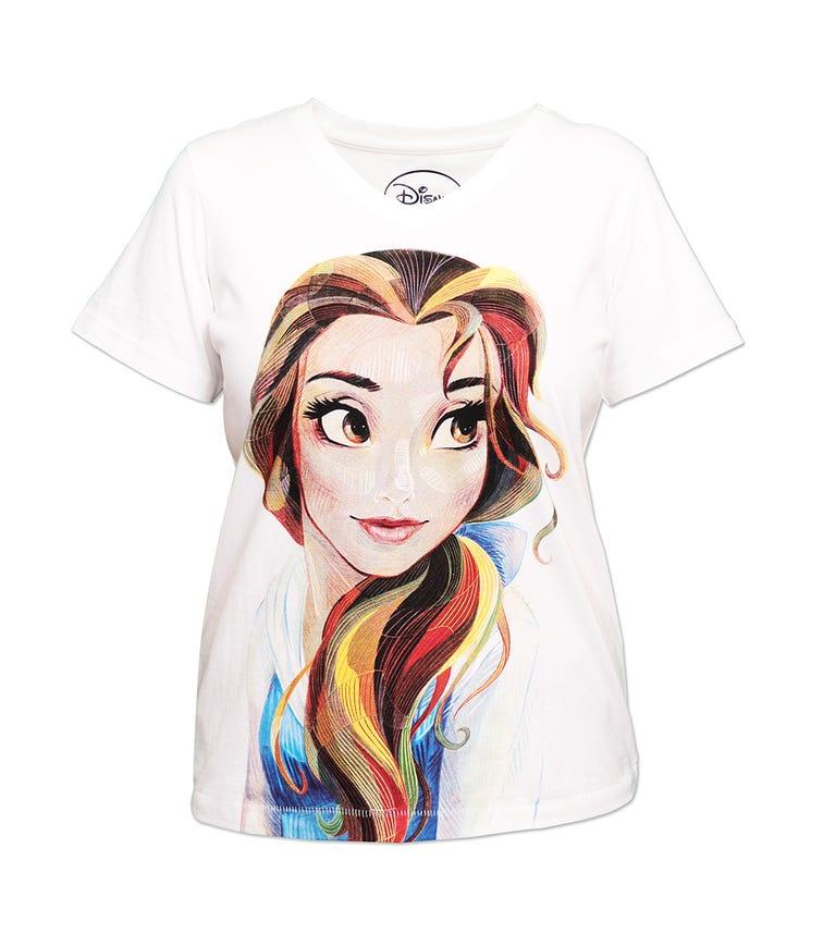 DISNEY  Belle Ladies T-shirt Off White