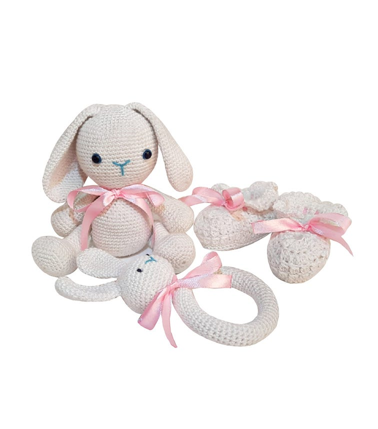 PIKKABOO Snuggle And Play Soft Crocheted Bunny - White