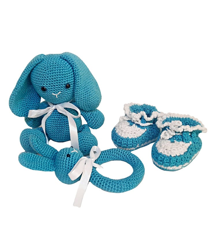 PIKKABOO Snuggle And Play Soft Crocheted Bunny - Blue