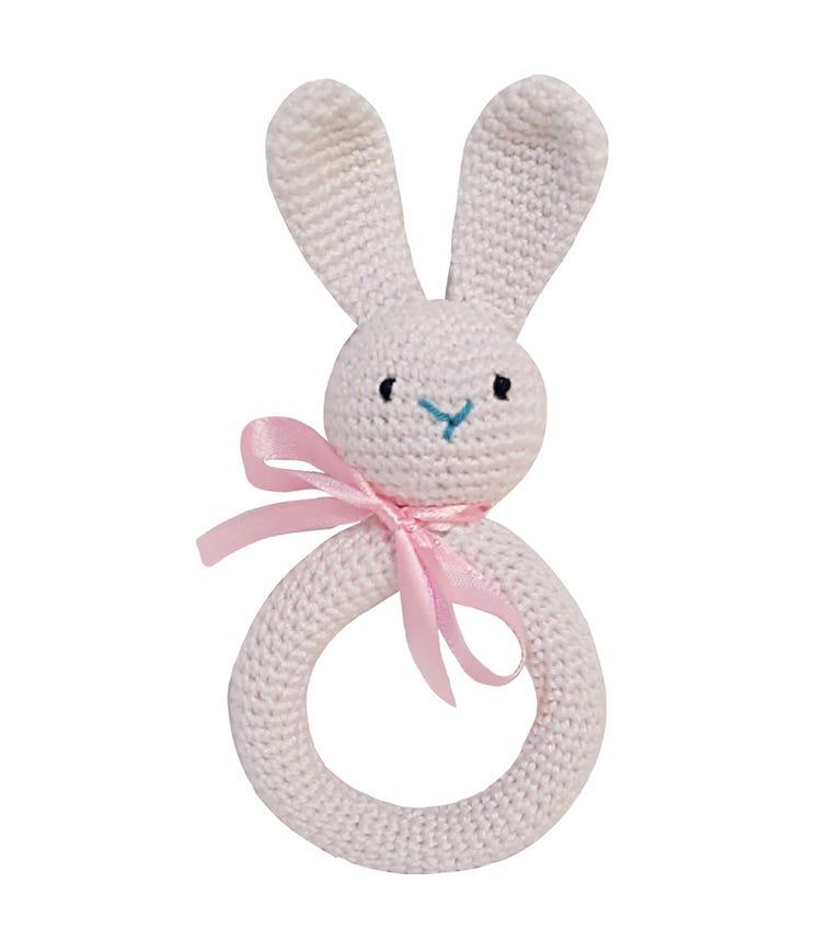 PIKKABOO Handmade Crocheted Bunny Teether - White