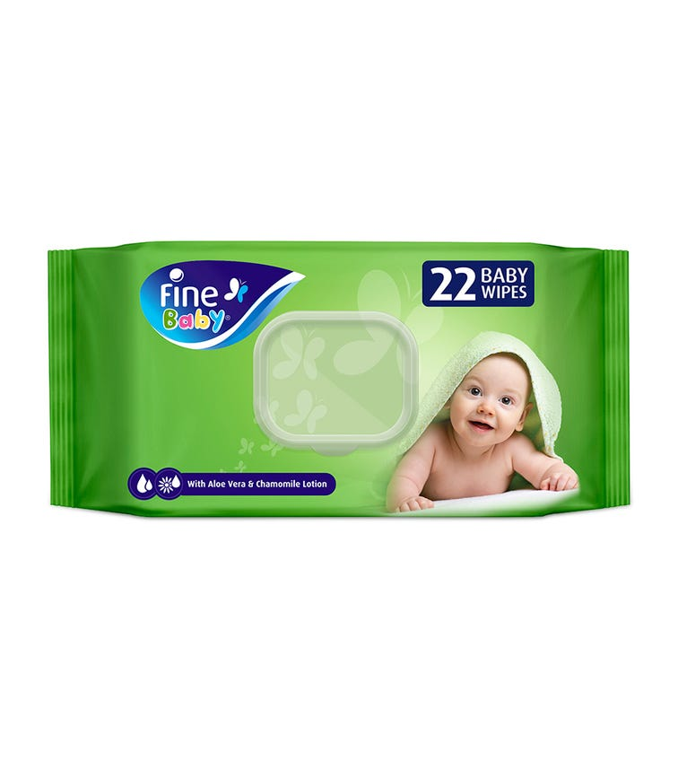 FINE BABY Wet Wipes, Aloe Vera & Chamomile Lotion, 22 Wipes