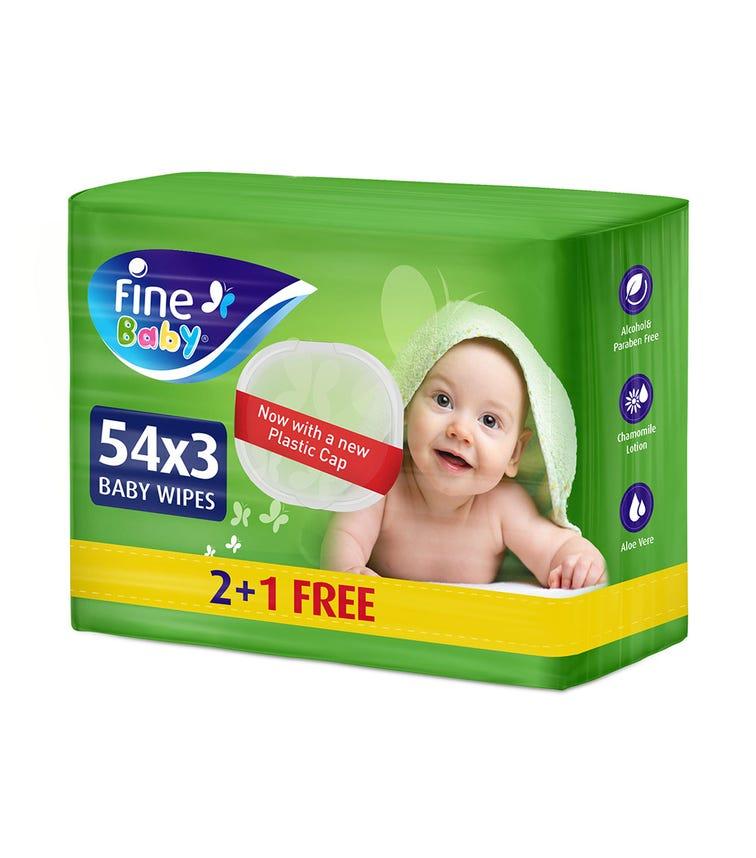 FINE BABY Wet Wipes, Aloe Vera & Chamomile Lotion, 54 X3 Pack