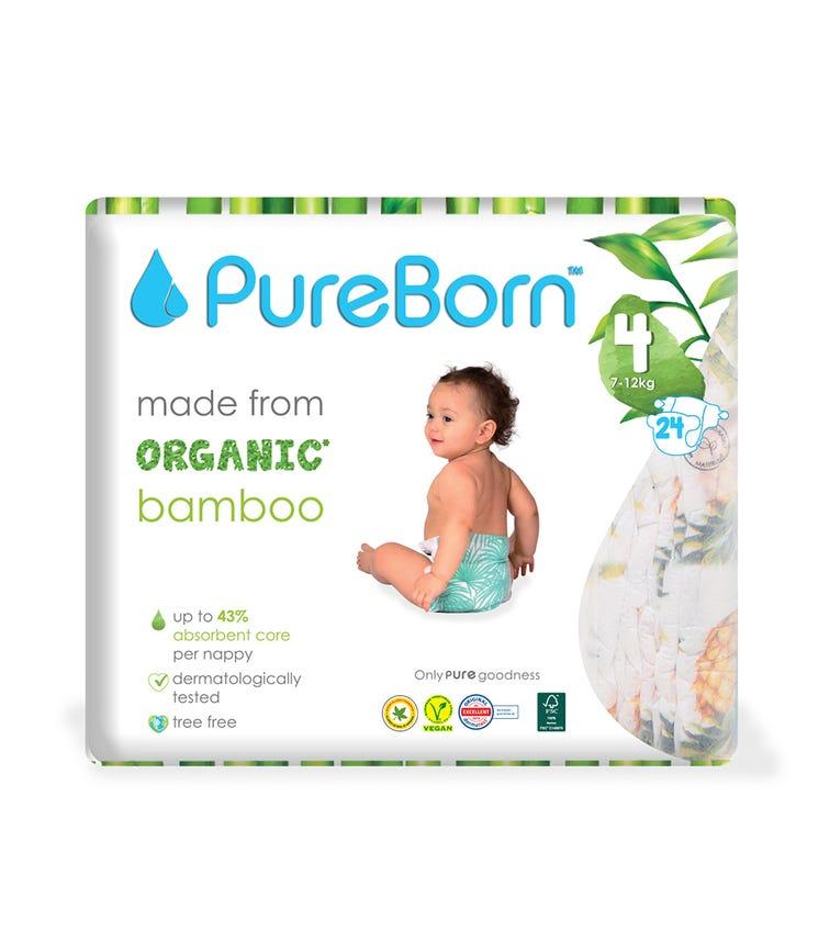 PURE BORN Size 4 Single Pack Nappy, 7-12 KG, 24 Pieces - Grapefruit
