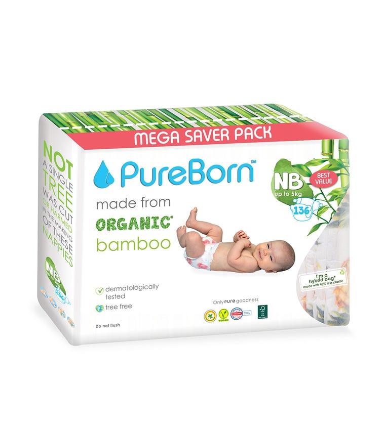 PURE BORN New Born Value, 0-4.5 KG, 136 Pieces - Flowers