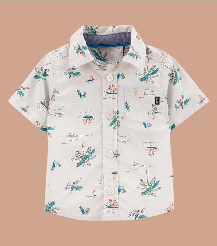 OSHKOSH Palm Tree Button-Front Shirt