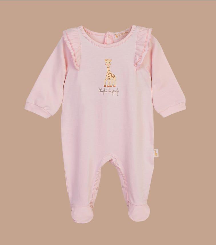 SOPHIE LA GIRAFE Barely Pink Embroidered Onesie