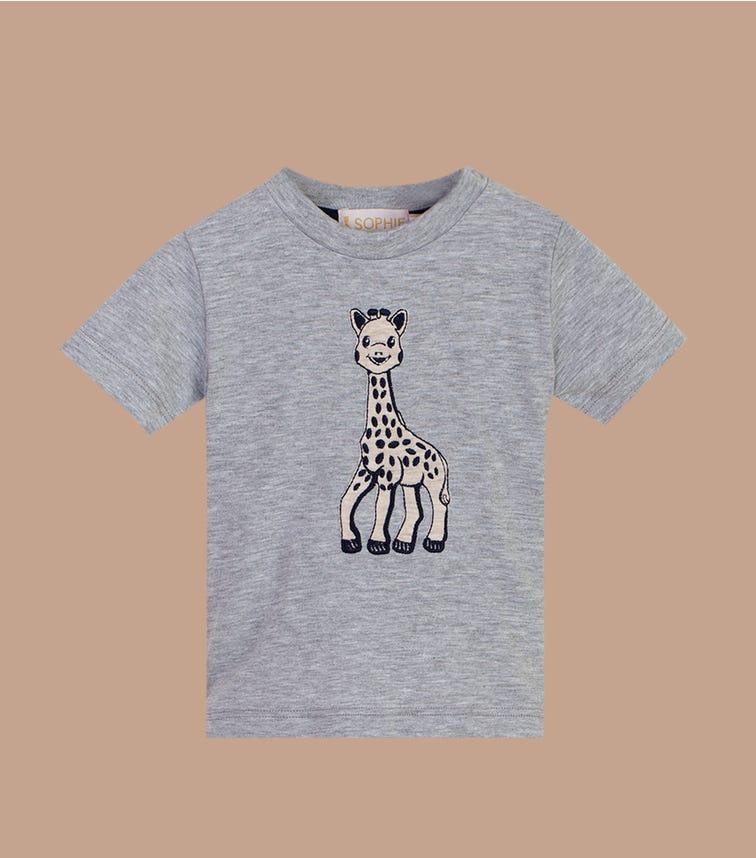 SOPHIE LA GIRAFE Grey Graphic Applique Top