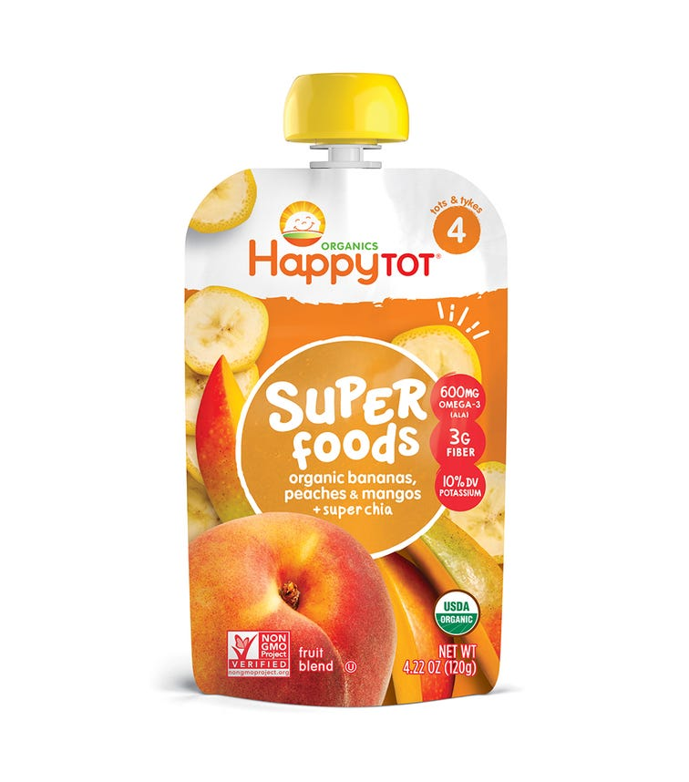 HAPPY FAMILY ORGANIC Stage 4 Super Foods, Banana,120G Pouch