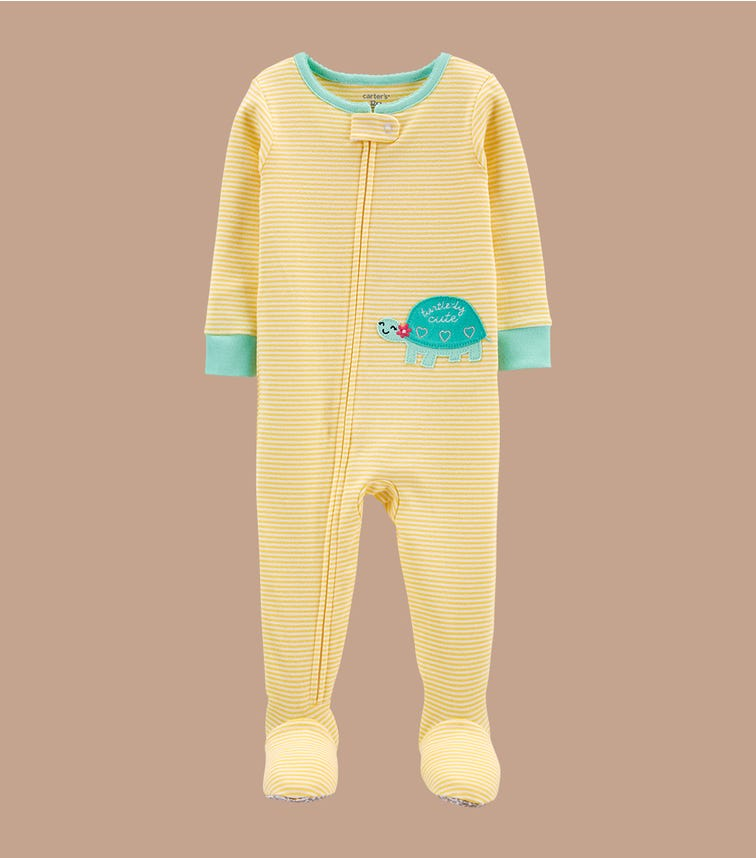 CARTER'S 1-Piece Yellow 100% Snug Fit Cotton Footie Pjs