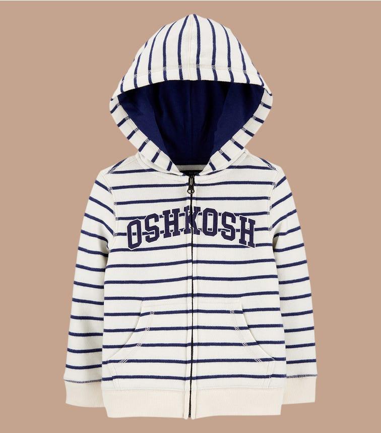 OSHKOSH Striped Logo Fleece Hoodie