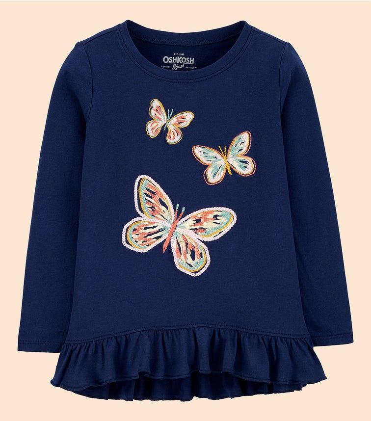 OSHKOSH Butterfly Ruffle Hem Top