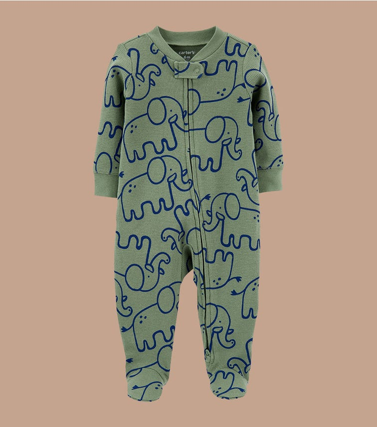 CARTER'S Elephant 2-Way Zip Cotton Sleep & Play