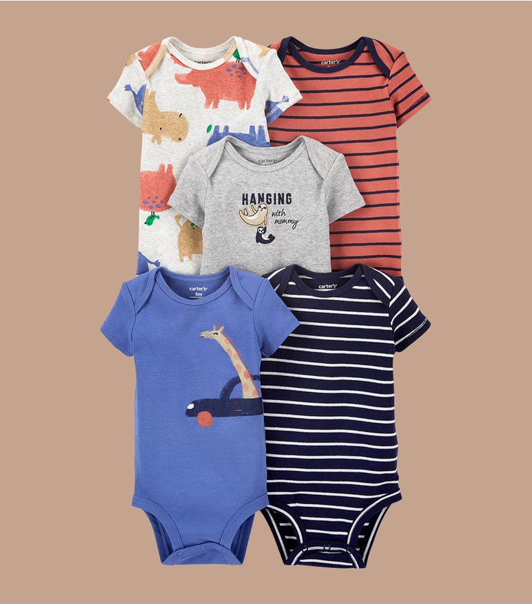 CARTER'S 5-Pack Short-Sleeve Bodysuits