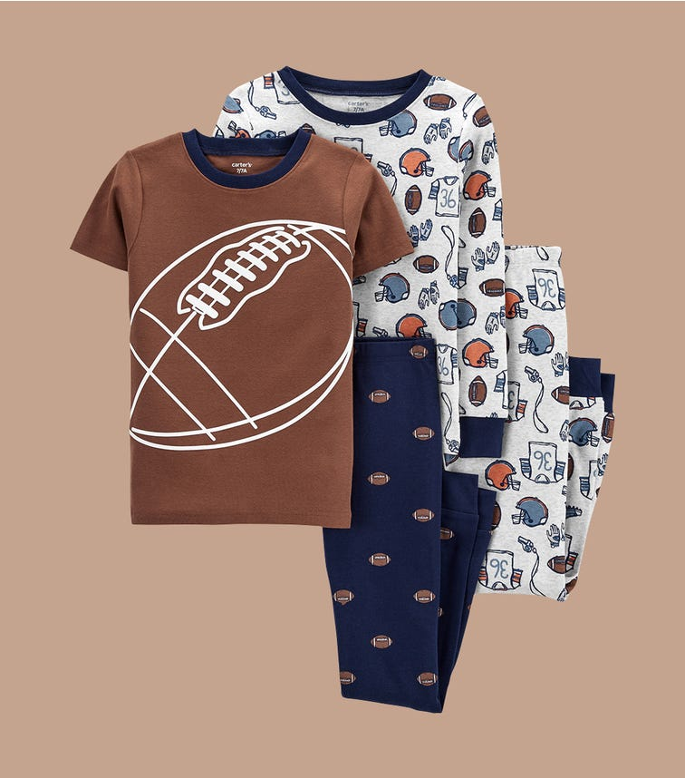 CARTER'S 4-Piece Football 100% Snug Fit Cotton Pjs