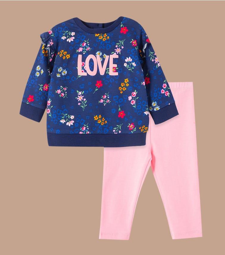 LITTLE ME Floral 2-Piece Sweatshirt Set