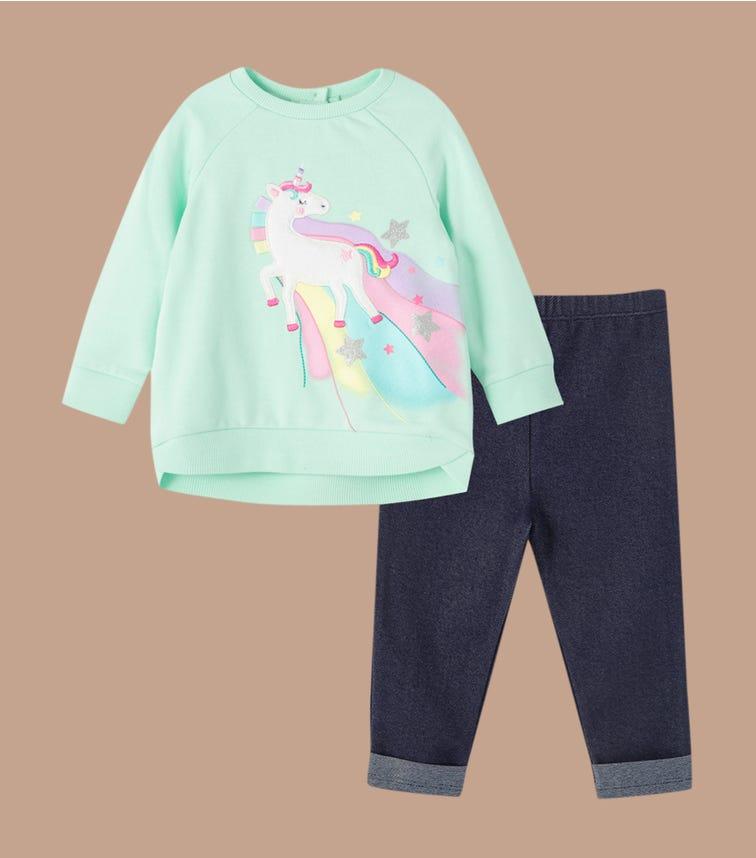 LITTLE ME Unicorn 2-Piece Sweatshirt Set