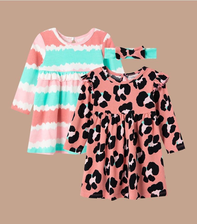 LITTLE ME Leopard Knit Dress Set