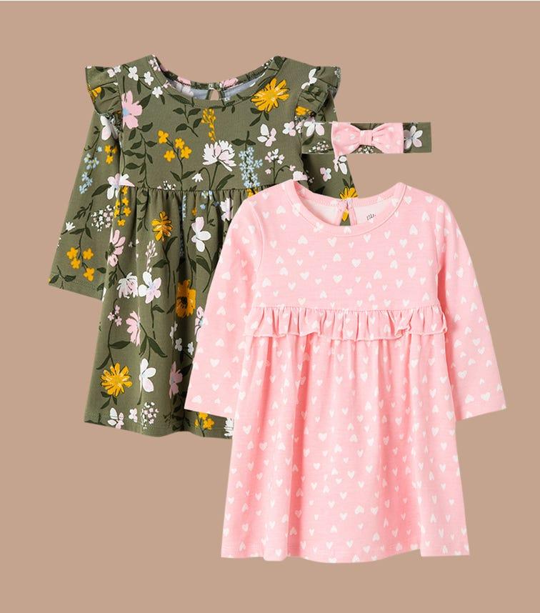 LITTLE ME Multi Floral Knit Dress Set