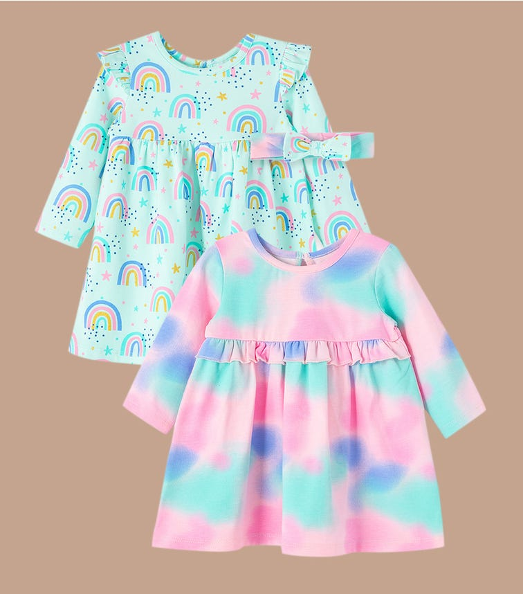 LITTLE ME Rainbow Knit Dress Set