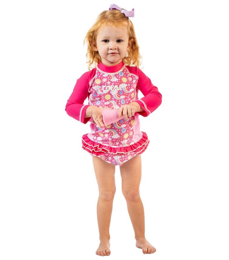 COEGA Baby Girls Swim Diaper - Pink Rainbows
