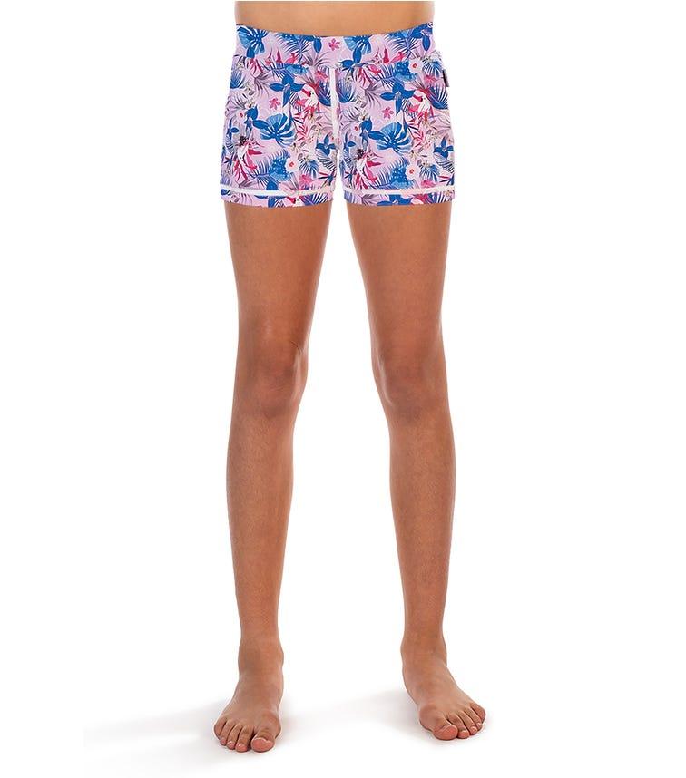 COEGA Kids Girls Swim Shorts- Magenta Rainforest