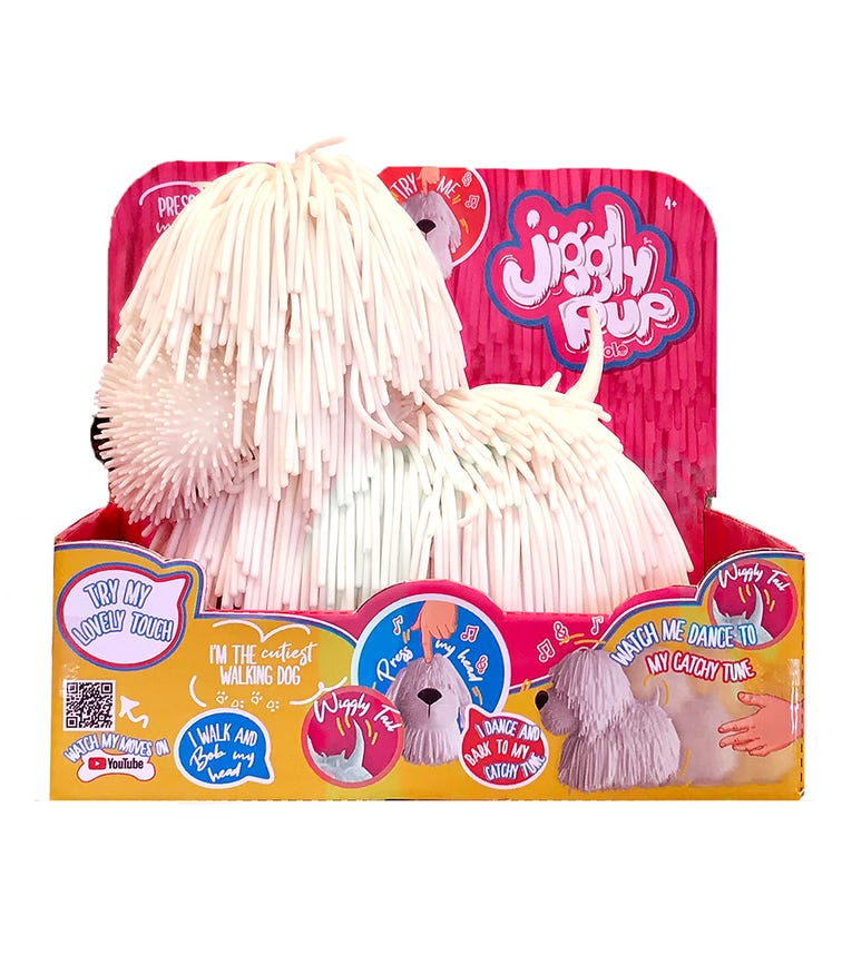 JIGGLY PUP Rubbery Walking Dog With Sounds (White)