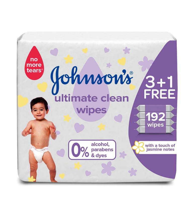 JOHNSONS BABY Wipes - Ultimate Clean, 3 +1 Packs Of 48 Wipes, 192 Total Count
