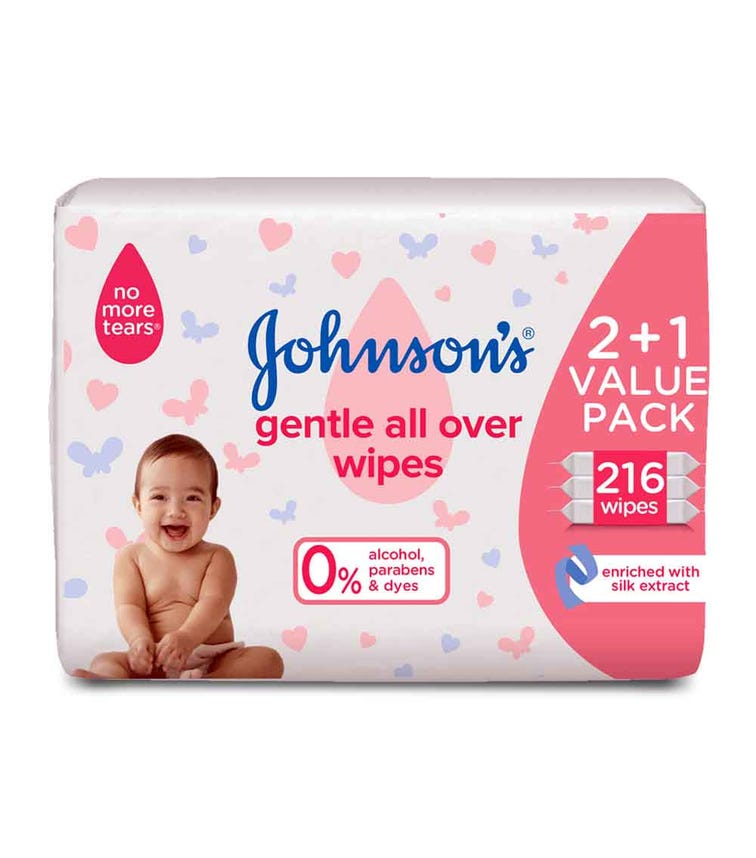 JOHNSONS BABY Wipes - Gentle All Over, 2+1 Packs Of 72 Wipes, 216 Total Count