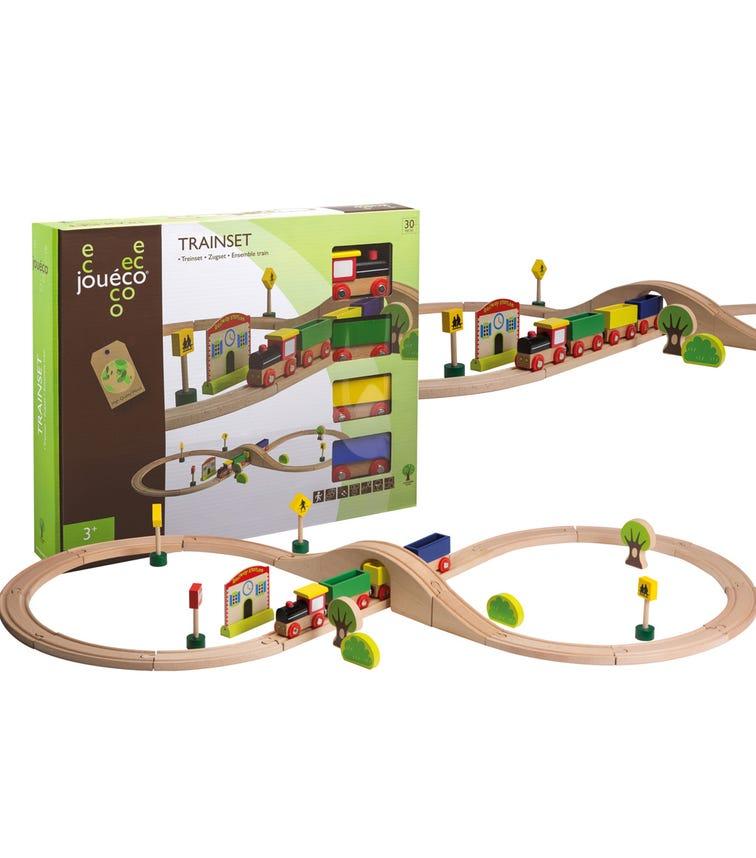 JOUECO Trains Set In Window Box (30 Pieces)