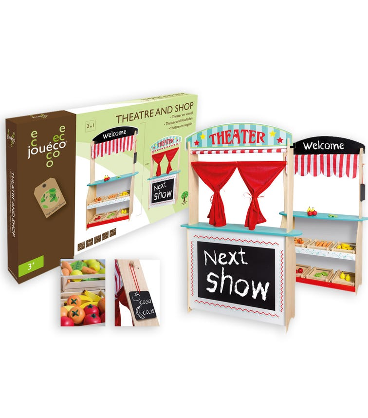 JOUECO 2 In 1 Theatre And Shop With Accessories