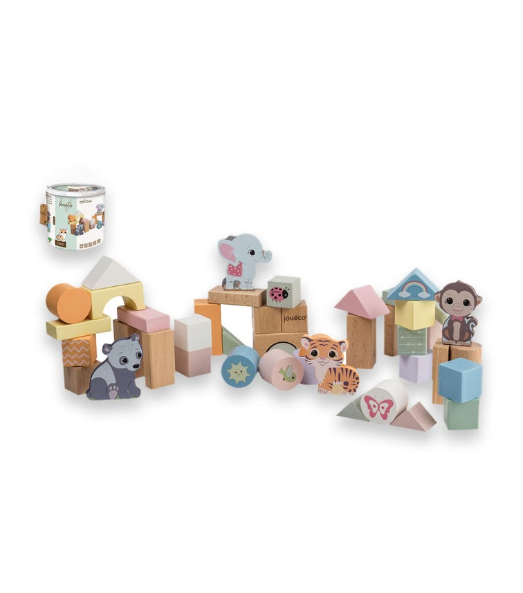 JOUECO The Wildies Family Wooden Blocks In Bar