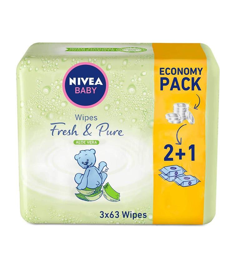 NIVEA Baby Wipes Fresh & Pure 63'S 2+1
