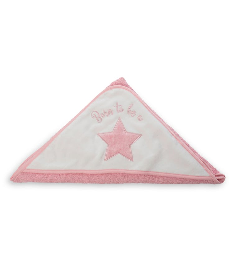 PLAYGRO Home Hooded Towel - Pink & White