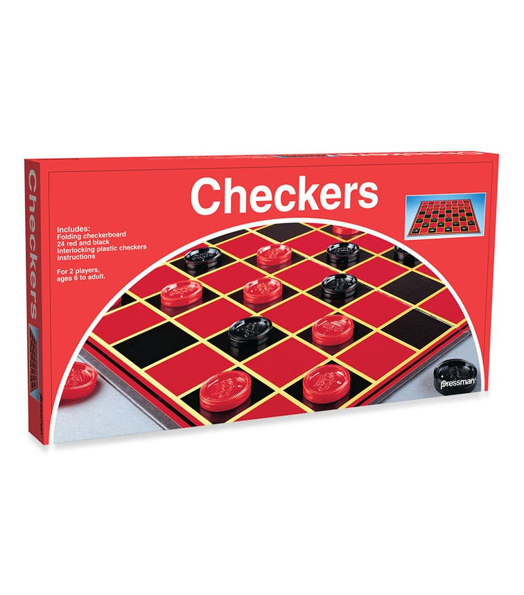 PRESSMAN Checkers Classic Game With Folding Board And Interlocking Checkers