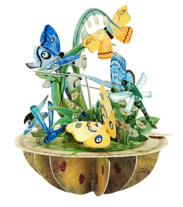 SANTORO London Butterfly And Dragonfly 3D Pirouette Greeting Card