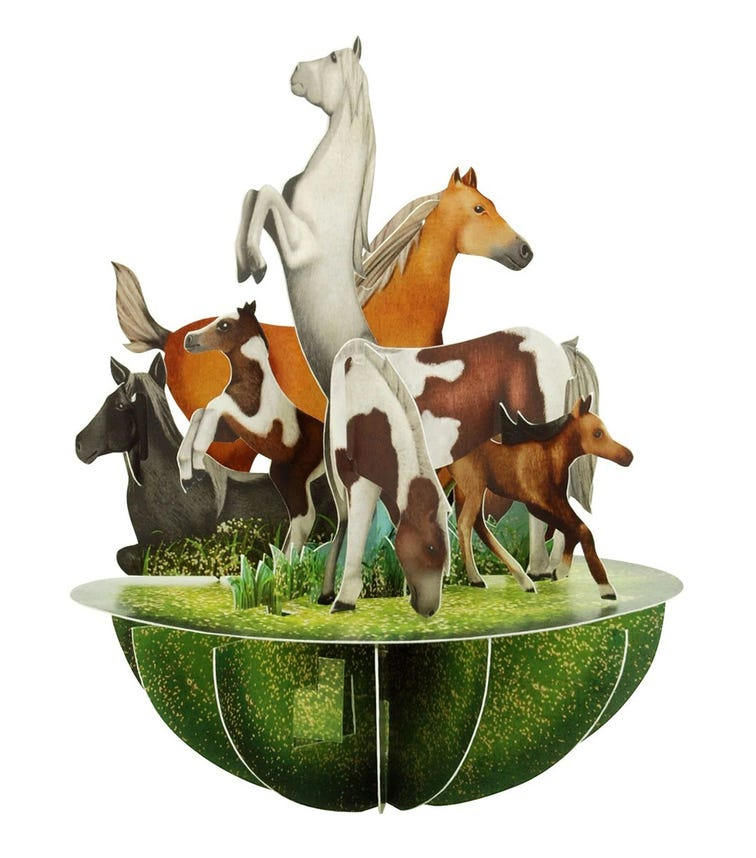 SANTORO London Horses And Ponies 3D Pirouette Greeting Card
