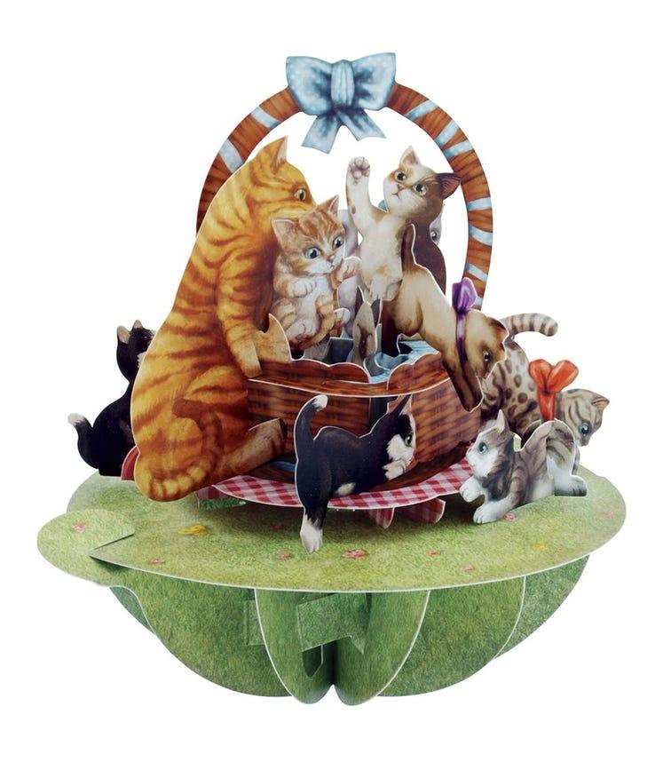SANTORO London Kittens In A Basket 3D Pirouette Greeting Card