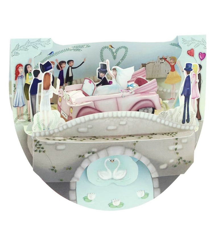 SANTORO London Wedding Car 3D Pop N Rock Greeting Card